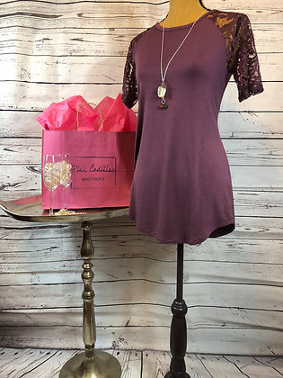 Plum Top with Lace Sleeves