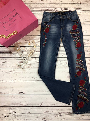 Embroidered Red Rose Denim