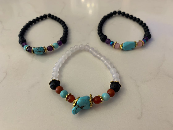 Turquoise Chakra Essential Oil Diffusing Bracelet Set