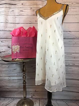 White/Gold Sequin Detail Dress