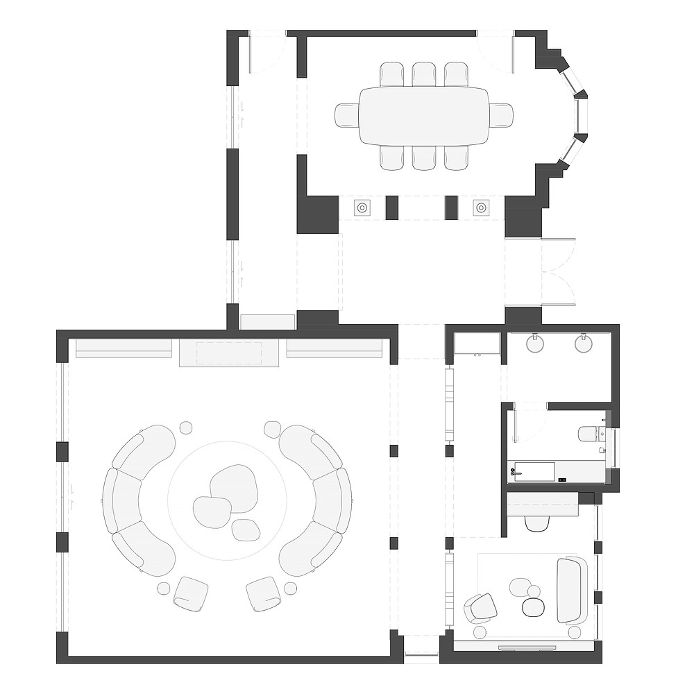furniture layout for a residential renovation project