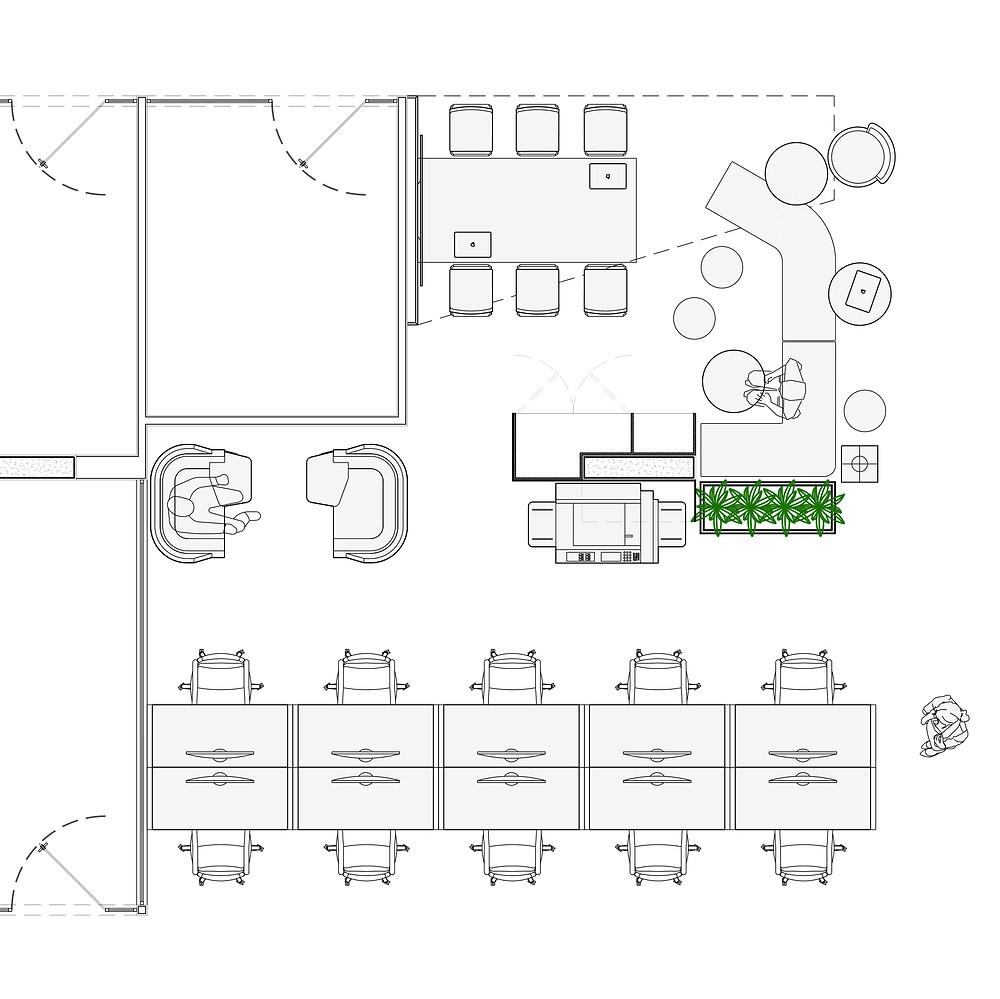 Layout for a common area in an office