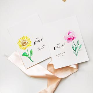 Pair of wedding vows card