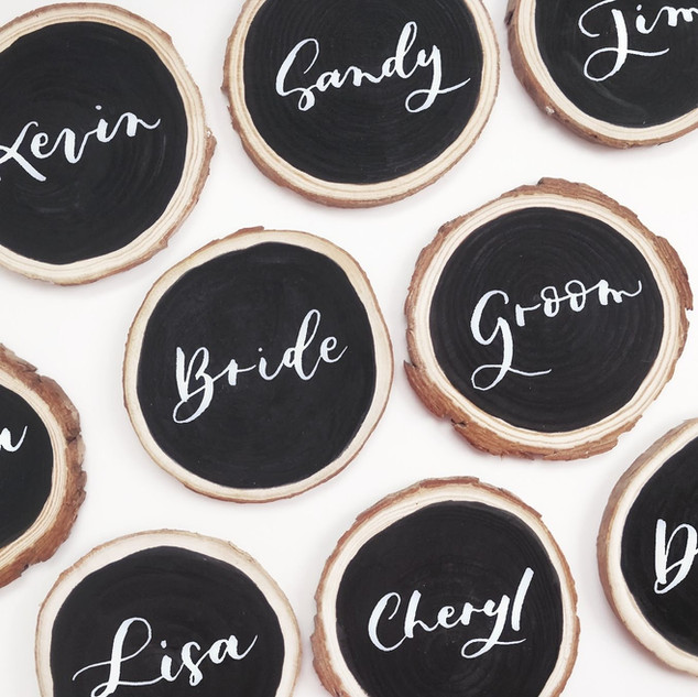 Wood slice placecard
