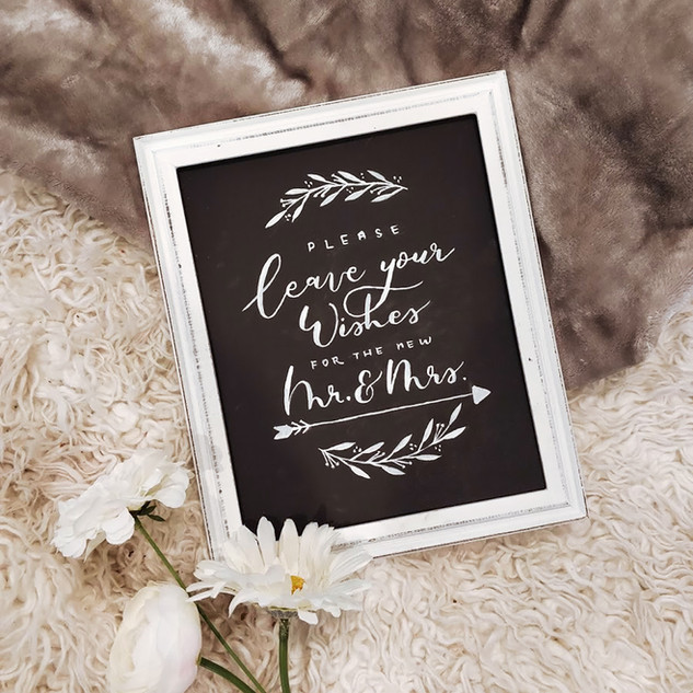 Wedding sign on chalkboard