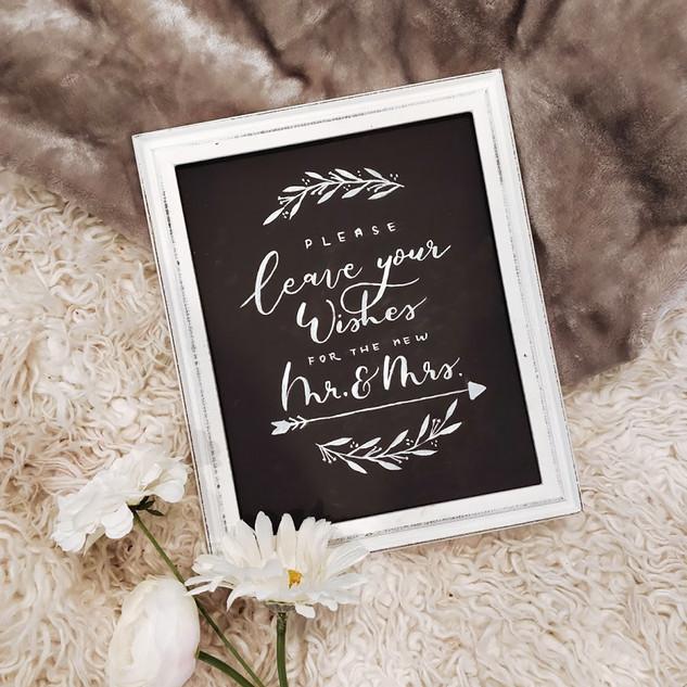Wedding sign on chalkboard