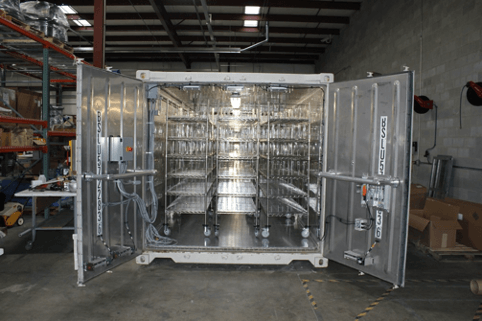 the inside of the GDS Regen with stainless steel racks to hold N95 masks