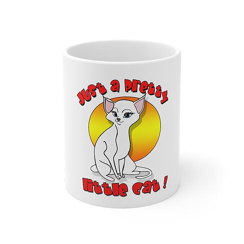 Pretty Little White Cat Mug 11oz
