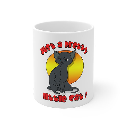 Pretty Little Grey Cat Mug 11oz
