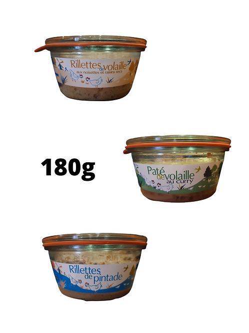 Rillettes et Patés de volailles, 180 gr