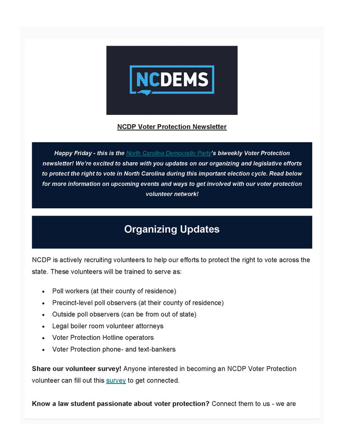 NCDP Voter Protection Newsletter