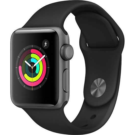 Apple Watch Series 3 38mm Space Greywith Black Sport Band