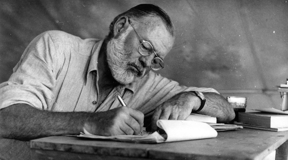 Ernest Hemingway writing email subject lines
