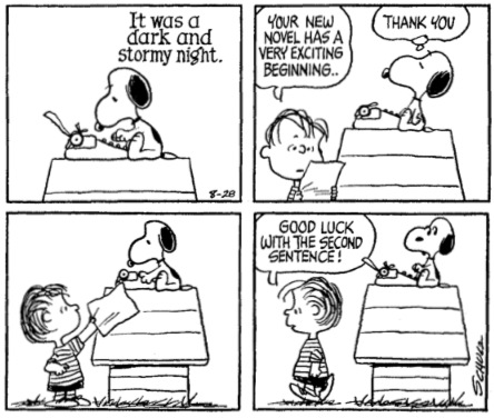 Peanuts struggling with writer's block