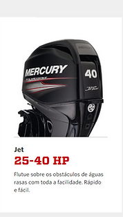 Motores de popa Mercury 3,3hp até 60HP gasolina