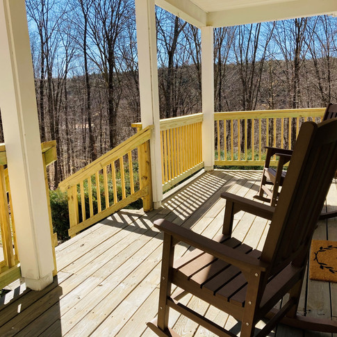 Covered front porch with beautiful views