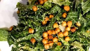 Healthy, Creamy, Vegan & Gluten Free Caesar Salad With Chickpea Croutons