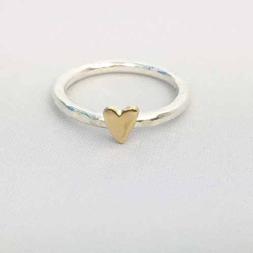 Silver ring with 9ct yellow gold heart