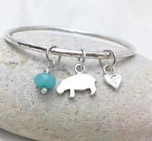 custom bangle with hippo and custom paw print heart