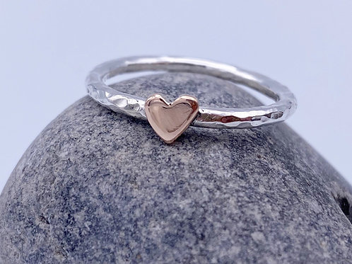 Silver ring with 9ct Rose Gold heart