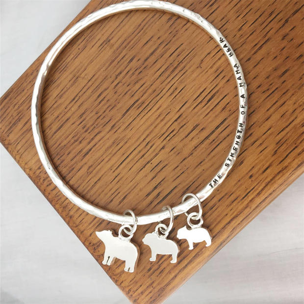 Message bangle with bespoke Bear family charms