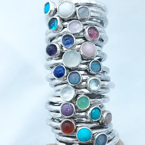 Gemstone stacking ring 2mm