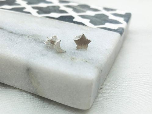 simple star and moon stud earrings
