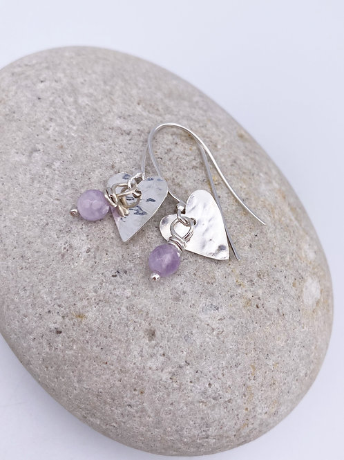 hammered heart drop earring with gemstone beads
