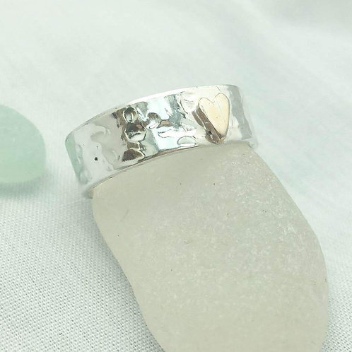 hammered silver wide ring with 9ct yellow or rose gold heart