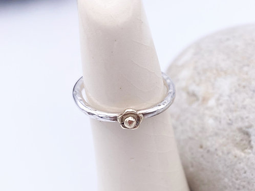 Silver ring with 9ct gold flower (stackable)