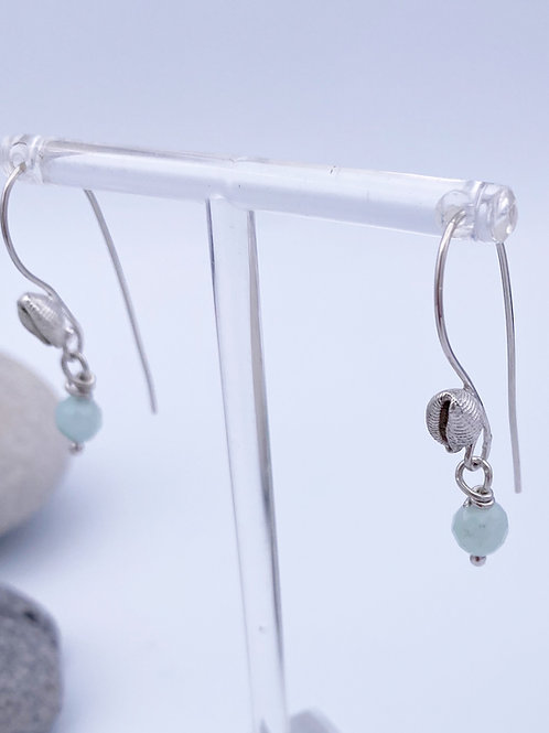 Cowri Shell drop earrings with pale Aquamarine stones