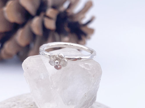Silver ring with Silver flower (stackable)