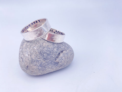 Personalised plain hammered band ring