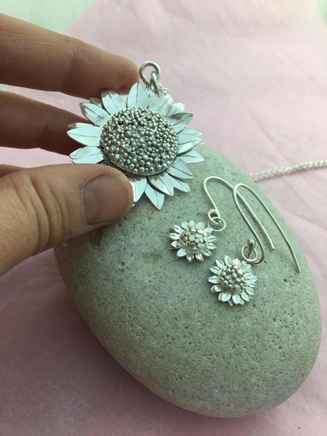 Bespoke sunflower Pendant and earring set
