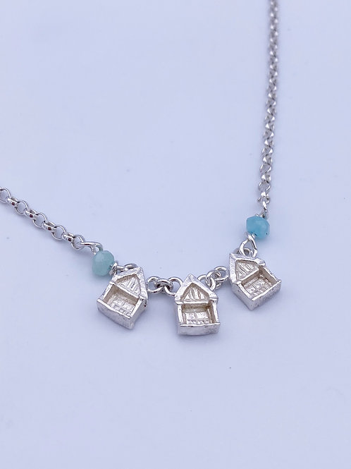 Row of Beach Huts Necklace with aquamarine