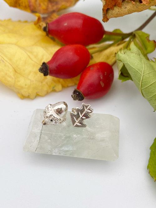Acorn and Oak leaf stud earrings