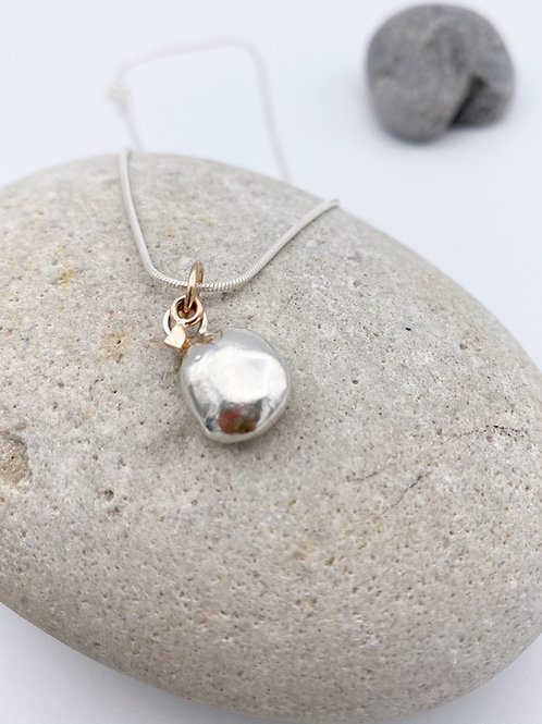 Silver Pebble with 9ct Rose gold heart accent necklace