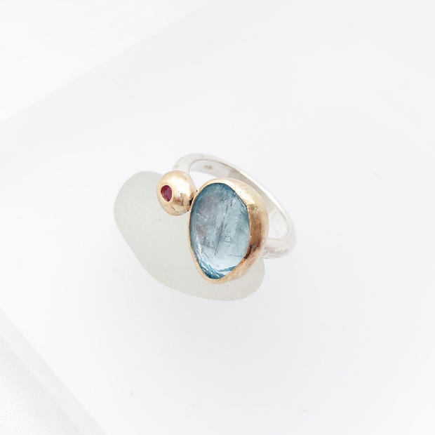 One off Aquamarine and ruby ring in silver and rose gold