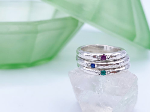 Little Sweetie organic hammered gemstone ring.
