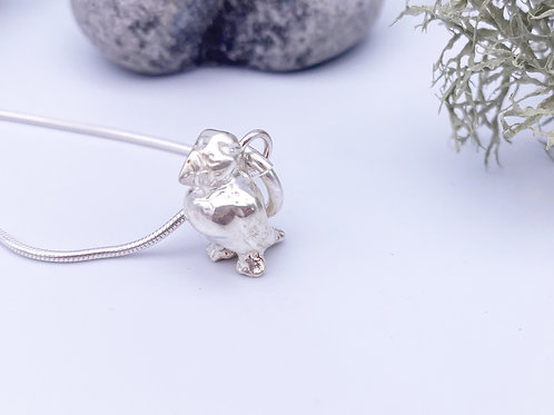 Silver Puffin bangle charm or pendant.