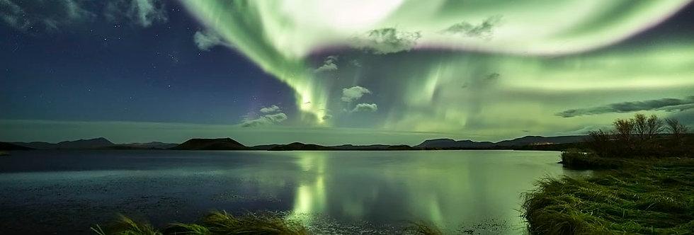 אגם בלילה - הדפסה על זכוכית