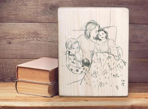 איור בהזמנה מיוחדת על בלוק עץ 14 על 18