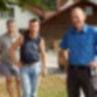 Bewohner und Mitarbeiter des Arbeitsheims Wangen