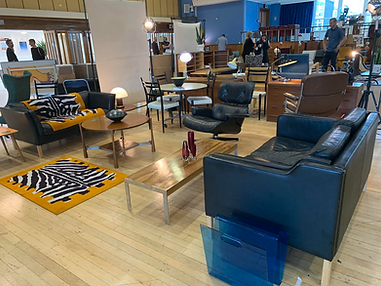 Mid-century design show, vintage retro fair, mid-century sofa, eames lounge chair