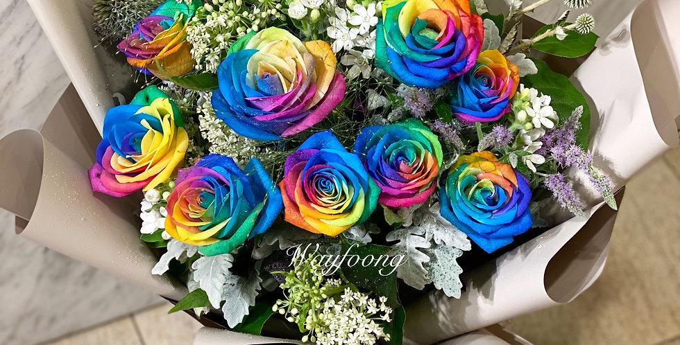 11枝彩虹玫瑰花束
