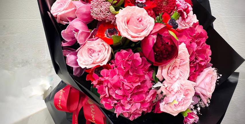 桃紅+紅+粉紅系特大花束