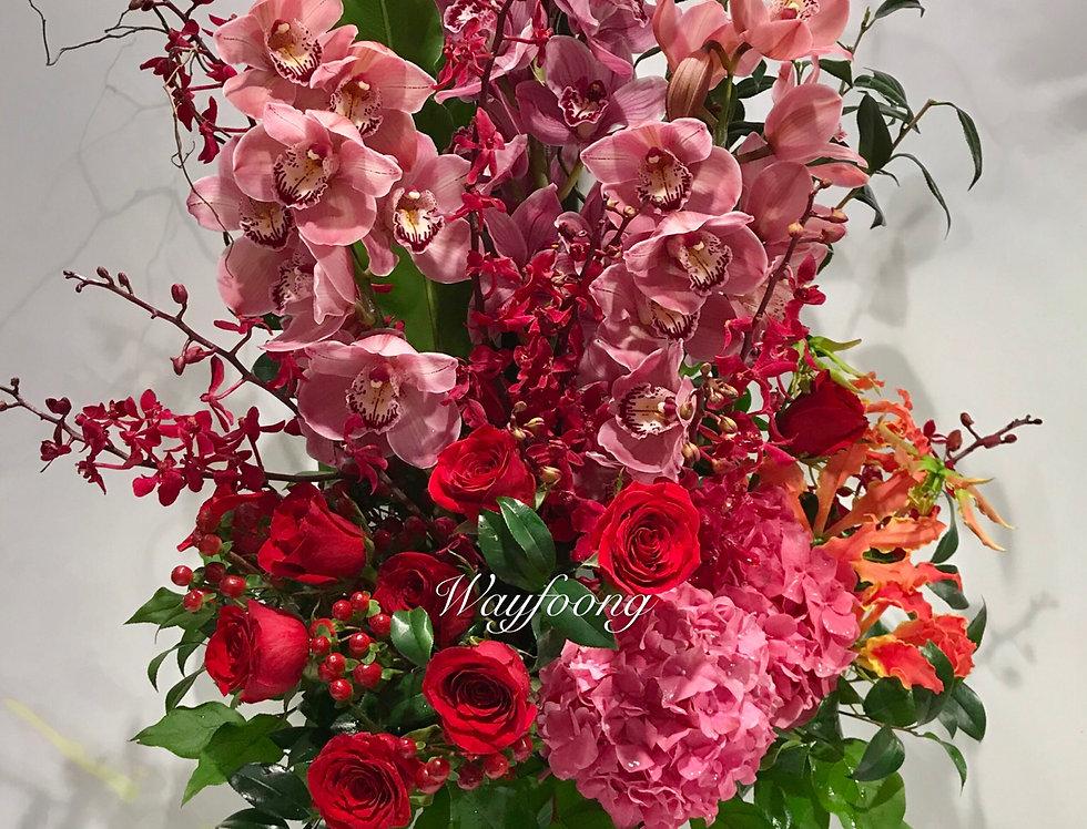蕙蘭繡球玫瑰花樽花