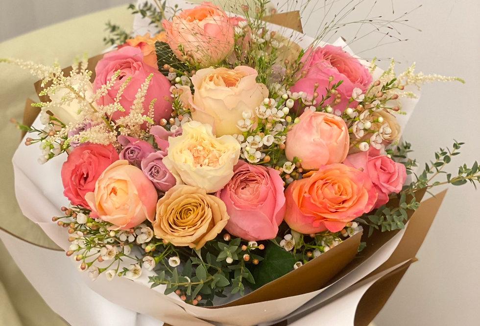 庭園玫瑰拼玫瑰花束