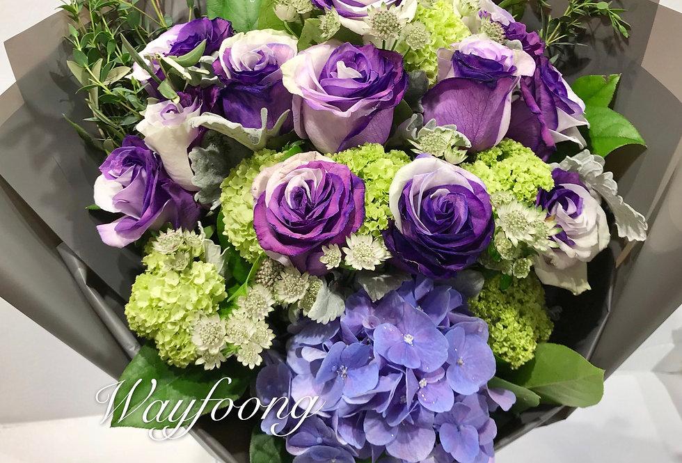 染色玫瑰花束