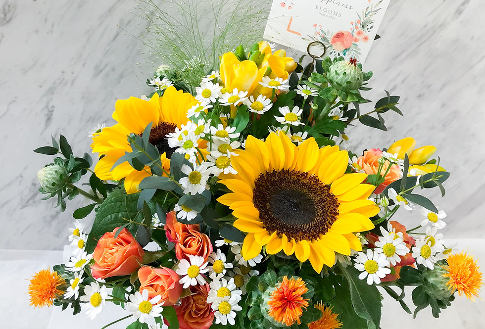 Sunshine 盛夏花火 橙黃調枱花